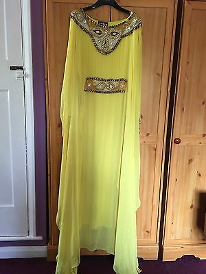 Gorgeous Canary Yellow Moroccan Arabic Dress