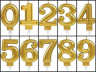 Gold Metallic Birthday Cake Number/Digit Candle Topper Party Decoration All Ages