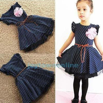 1-8 Years Kids Baby Girl Dot Flowers Birthday Pageant Formal Party Summer Dress