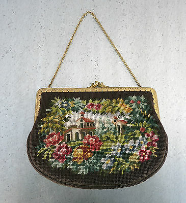 VINTAGE GOBELIN_PETIT POINT_HANDTASCHE_1940`s Germany_HANDBAG_NEEDLEPOINT_BROWN
