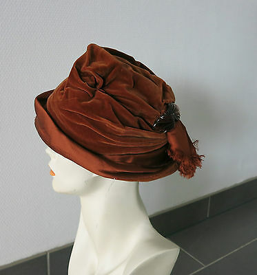 VINTAGE SAMT HUT 1940 -1950_VELVET HAT & Glass Clip_made in USA