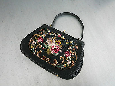 VINTAGE GOBELIN HANDTASCHE_WIE NEU_1950`s Germany_NEEDLEPOINT BAG LEATHER MINT