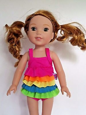 """Rainbow Ruffle Swimsuit Fits Wellie Wishers 14.5"""" American Girl Clothes"""