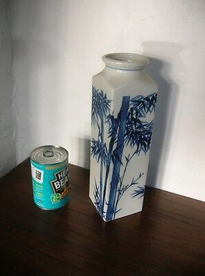 REDUCED Tall 11.5ins Blue and White 4-sided VASE Chinese Bamboo Pattern vgc