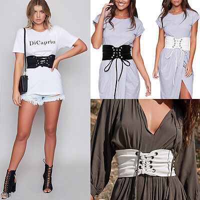 Women's Lace Up Tie Up Wide Elastic Stretch Studded Corset Belt Slim Waistband