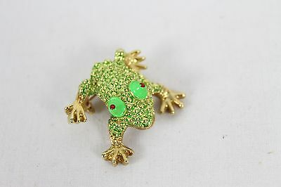 Vintage Tree Frog Jewelry Pin Pretty Colorful Green Rare Old Antique Animal
