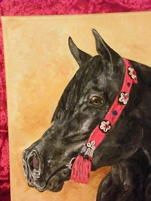 FABULOUS BLACK BEAUTIFUL HORSE, original oil painting