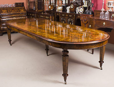 Bespoke Handmade 12ft Victorian Style Burr Walnut Marquetry Dining Table