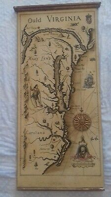 mappa su legno/wooden panel map, ould/old virginia usa, palladio made in italy