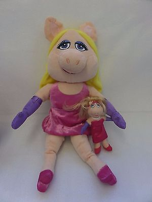 "Disney MISS PIGGY Soft Plush Toys 19"" & 6"" The Muppets SMALL AND LARGE BUNDLE"