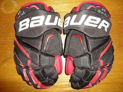 Bauer APX2 Pro Stock Game Used and Signed Gloves, Erik Gustafsson - Blackhawks