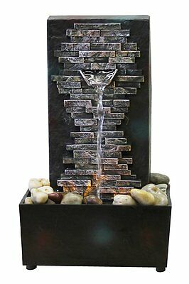 Brick Wall Indoor Water Fountain Tabletop Waterfall Relaxation Cascading LED New