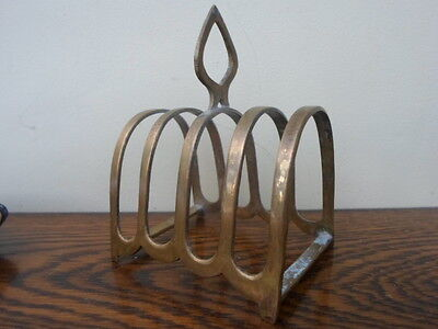 Vintage French brass toast rack, 4 slice