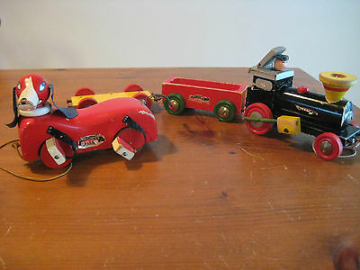 2 VINTAGE TOYS DOG AND TRAIN WOODEN PULL TOYS c1950's BRIO SWEDEN
