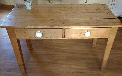 Old Stripped Pine Table Desk Kitchen Study Rustic Vintage
