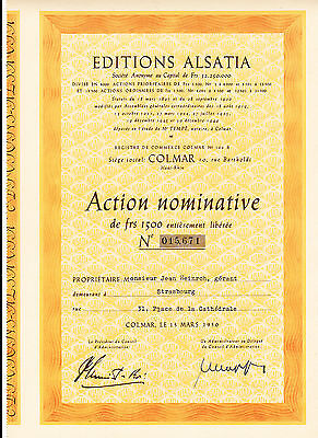 Editions Alsatia,Colmar-Action 1500 Frs. v. 1950
