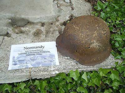 Normandy Dug German Helmet with Notary Certificate of Authenticity !