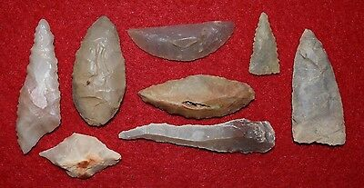 8 Sahara Neolithic tools, scrappers, drill, crescent blades,ovate point etc...