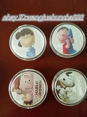 4pcs Snoopy Snoopy series of commemorative coins  coins peanut Movie Niue gift #
