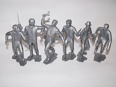 """Marx Fbi Figures Recast 6"""" Six Different Positions, Silver In Color"""