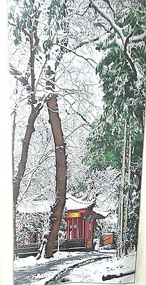"""Vintage oriental chinese silk scroll painting Snow Landscape Large 64""""X19.6"""""""