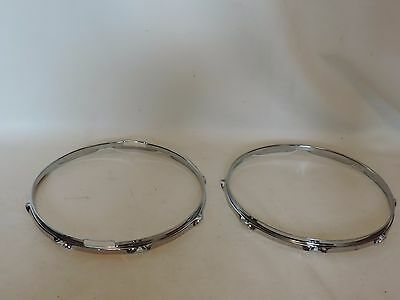 """Premier 14"""" Snare Drum Chrome Hoops Top and Bottom 8 holes"""