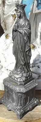 Vintage French Statue Virgin Mary Madonna Our Lady Metal figurine Shrine Icon
