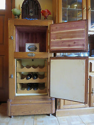 Antique BeldingHall Oak Ice Box Stone & Cedar Lined Wine Storage & Cigar Humidor