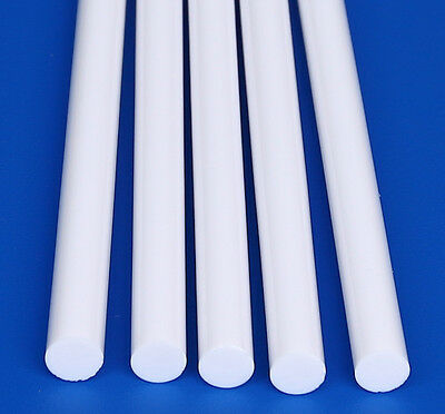 "5 White 5/8"" Diameter 12"" Inch Long Acrylic Plexiglass Lucite Color Rod Clear"