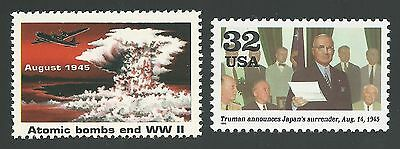 Atomic Bombs End WWII Enola Gay Rescinded & Replacement Stamps & Info Card MINT!