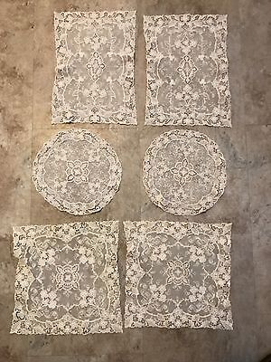 Exquisite Antique Brussels 6 Pc Lace Dresser Set Doily Hand Made Lace EXCLNT