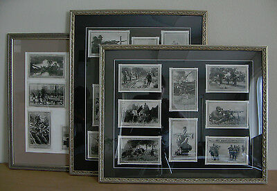 "German WWII Postcards ""Die Deutsche Infanterie"" Series Framed Set of 25--SUPER!!"