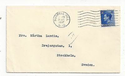 Britain 1937 Cover to Sweden, 2-1/2d KGVIII Solo