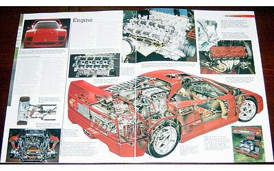 Ferrari F40 Fold-out Poster + Cutaway drawing