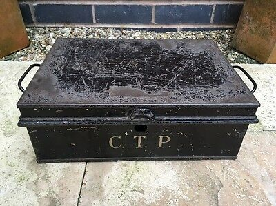 Vintage c1940s BLACK ENAMEL CASH TIN metal box Shabby Chic Theatre/Shop Prop