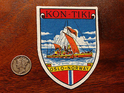Vintage Norway Norwegian Kon Tiki Oslo Expedition Travel Souvenir Patch