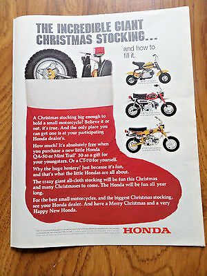 1972 Honda Motorcycle Ad Christmas Stocking QA-50 Z-50 Mini Trail & CT-70
