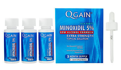 QGAIN MINOXIDIL 5% Low Alcohol Formula 3 MONTH SUPPLY