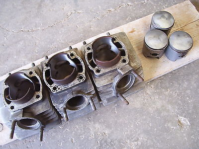 kh1 CYLINDER SET 1976 KAWASAKI S3 400 76 77 KH400 TRIPLE with pistons and rings