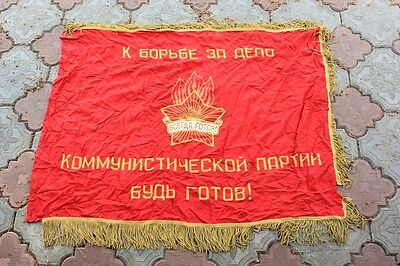 original FLAG USSR pioneers BIG SOVIET RUSSIAN RED BANNER