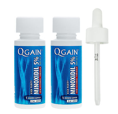 QGAIN MINOXIDIL 5% Low Alcohol Formula 2 MONTH SUPPLY Free Shipping