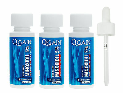 QGAIN MINOXIDIL 5% Low Alcohol Formula 3 MONTH SUPPLY No Box Free Shipping