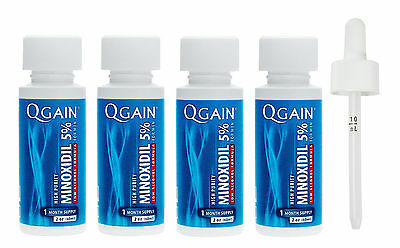 QGAIN MINOXIDIL 5% Low Alcohol Formula 4 MONTH SUPPLY No Box Free Shipping