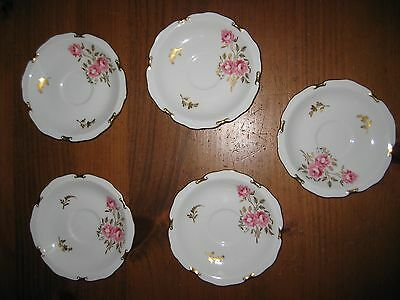 """5 Royal Crown Derby Pinxton Roses 5 1/2 """" Saucers"""