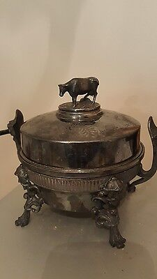 1860s Rogers Smith & Co. Silverplate Butter/Cheese figural cow gargoyle rare