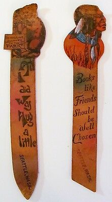 VTG Lot of 2 Leather Painted Souvenir Bookmarks Seattle Washington Indian & Bear