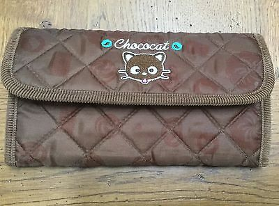 Sanrio CHOCOCAT Quilted Wallet Brown Trim ~Snap Close~Many Compartments~HTF~NEW!