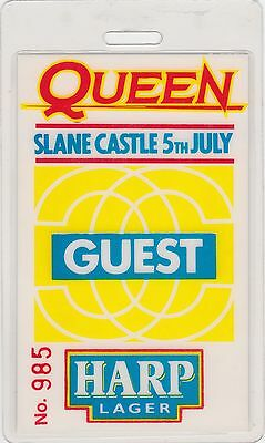 Queen Laminated Backstage Pass Slane Castle Ireland 1986 Magic Tour