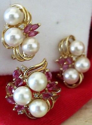 LARGE French-Clip Earrings & Ring Wedding Set, Pearl Diamond Ruby, 14k GOLD NR