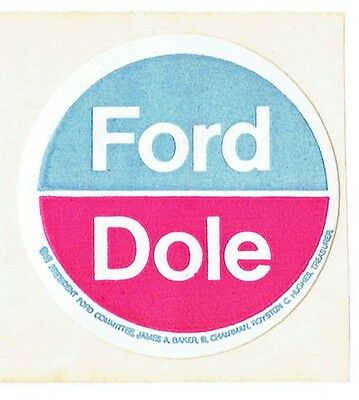 Ford Dole Round Stickers from 1976 Presidential Campaign Gerald Ford & Bob Dole